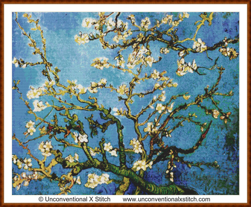 Blossoming Almond Tree cross stitch pattern