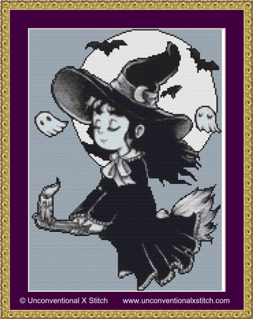 Tiny Witch cross stitch pattern