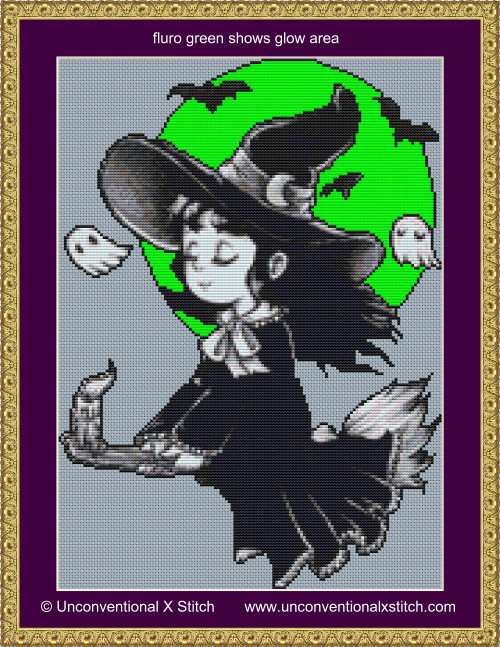 Tiny Witch cross stitch pattern Glow in the Dark edition
