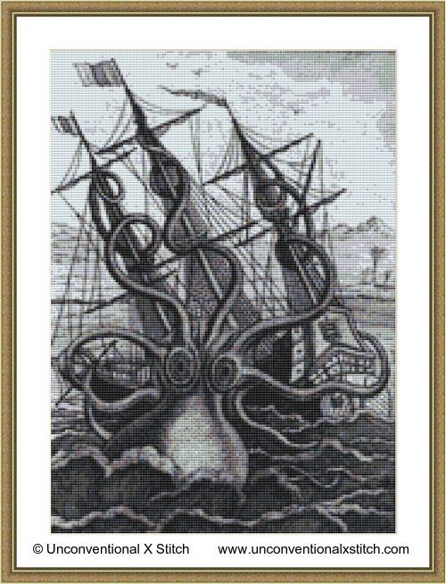 Colossal Octopus cross stitch pattern (Miniature edition)