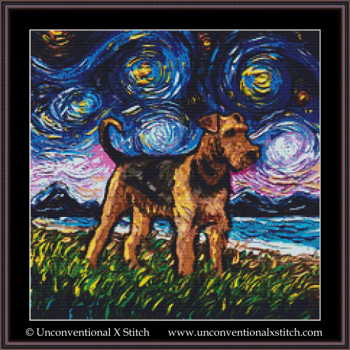 Airedale Terrier Night cross stitch pattern