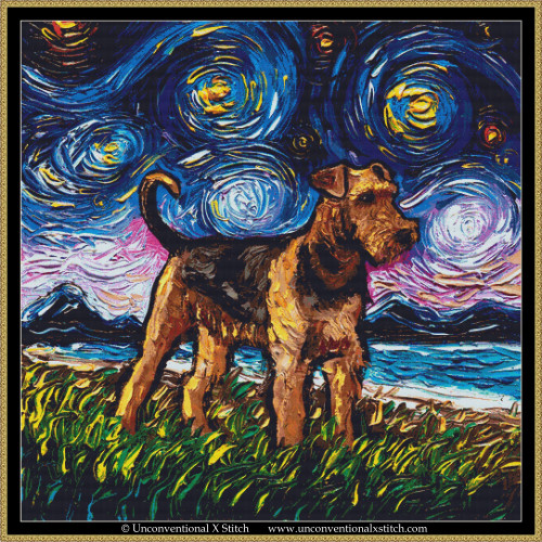 Airedale Terrier Night cross stitch pattern (XL Edition)