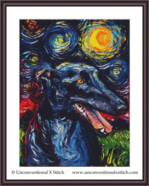 Greyhound Night cross stitch pattern