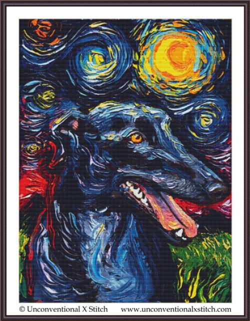 Greyhound Night cross stitch pattern (XL Edition)