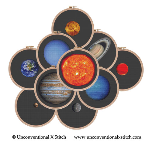 Solar System Planets Collection cross stitch pattern (Scale Edition)