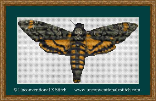 Death Head Moth cross stitch pattern