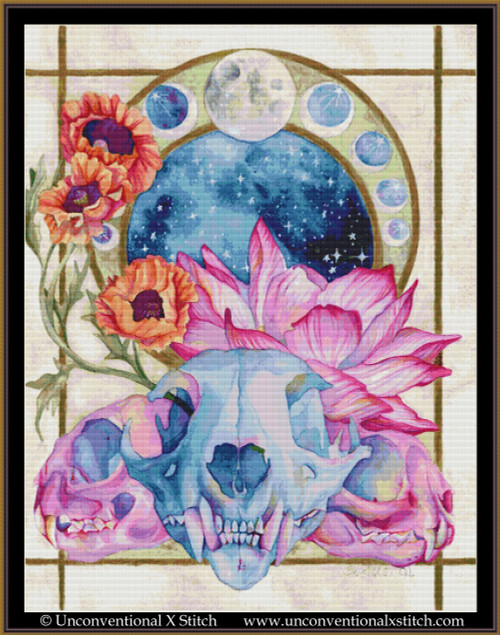 The Moon The Lunatic and the Divine cross stitch pattern