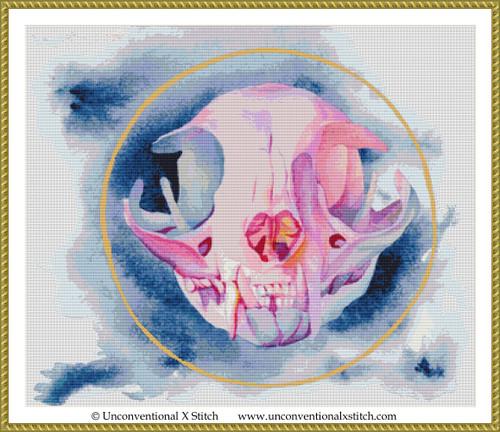 Cat Skull cross stitch pattern