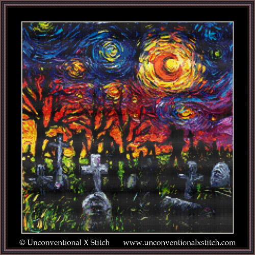 Starry Night of the Living Dead cross stitch pattern