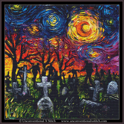 Starry Night of the Living Dead cross stitch pattern (XL Edition)