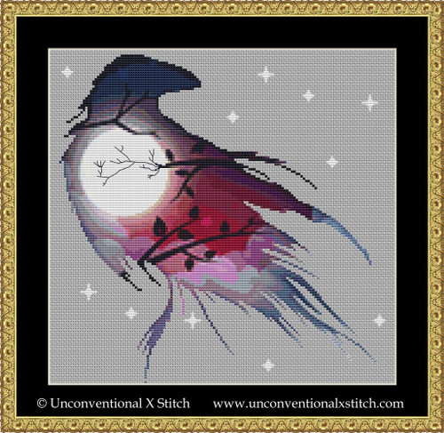 Night Raven cross stitch pattern