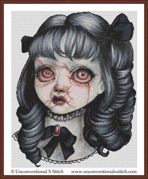 Haunted Doll cross stitch pattern