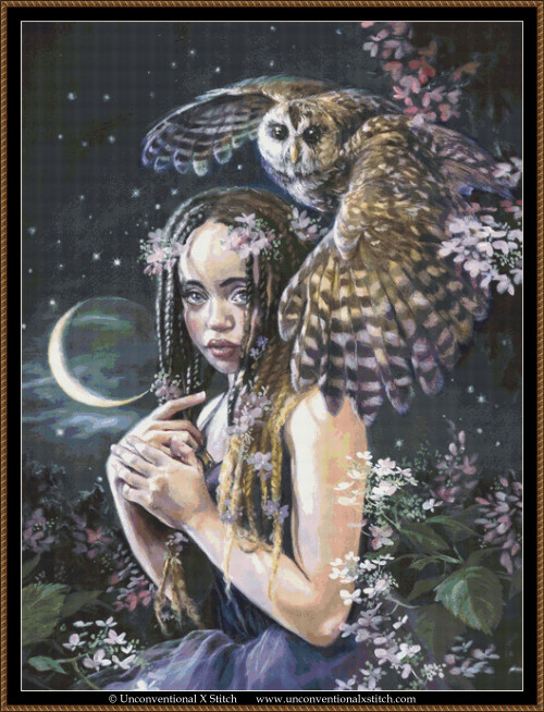 Daughter of the Moon cross stitch pattern