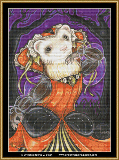Autumn Princess Ferret cross stitch pattern
