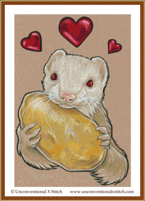 Ferret with Potato cross stitch pattern