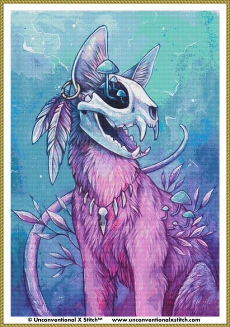 Pink Skull Kitty cross stitch pattern (XL Edition)