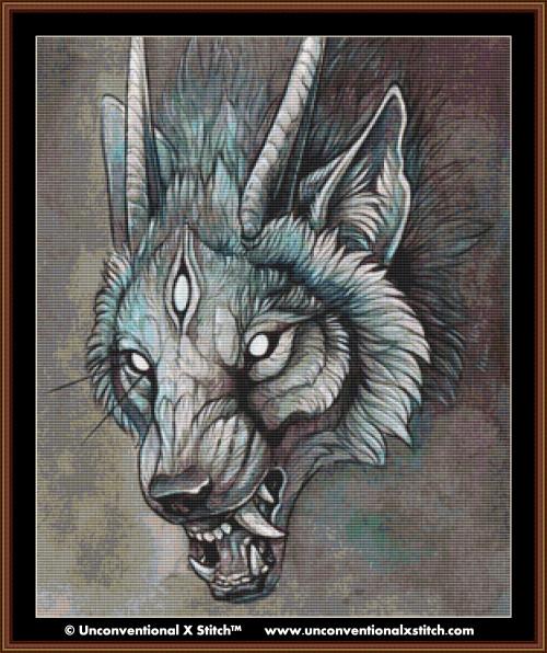 Wolf Creature I cross stitch pattern