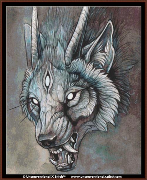 Wolf Creature I cross stitch pattern (XL Edition)