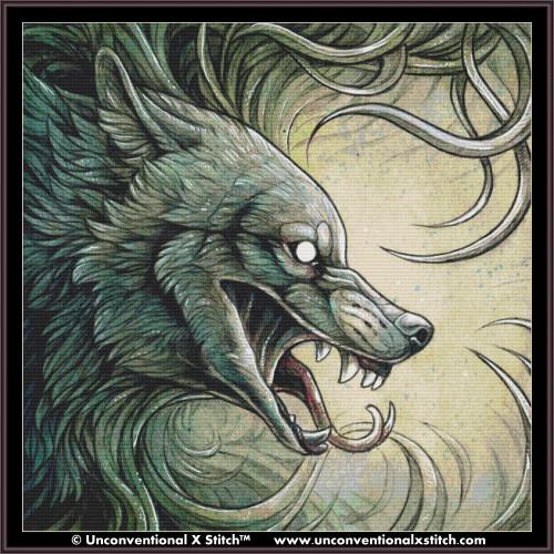 Wolf Creature II cross stitch pattern (XL Edition)