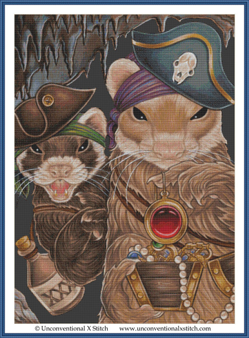 Ferret Pirate Treasure cross stitch pattern