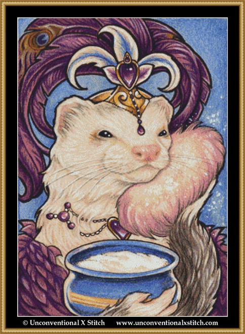 Showgirl Ferret cross stitch pattern