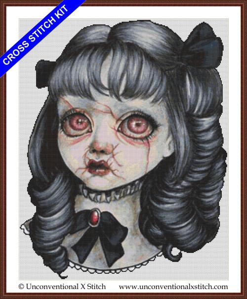 Haunted Doll cross stitch kit