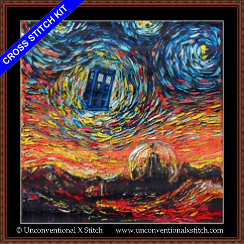 Van Gogh Never Saw Gallifrey cross stitch kit