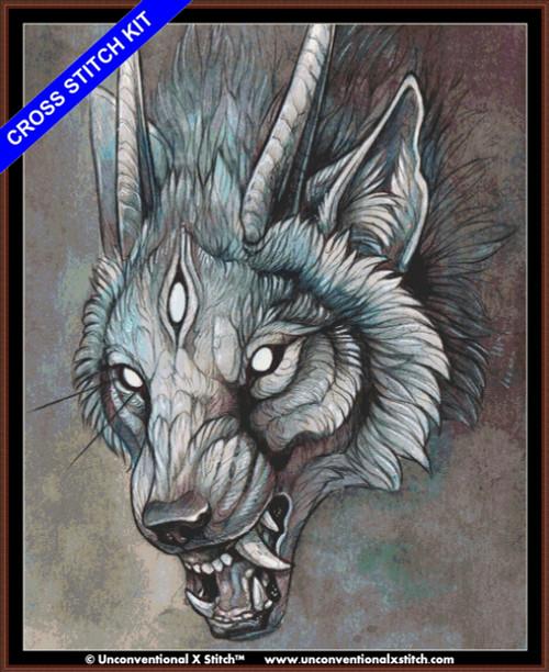 Wolf Creature I (XL Edition) cross stitch kit