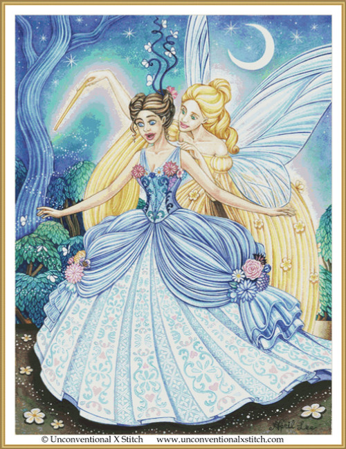 Cinderella and the Fairy God Mother cross stitch pattern