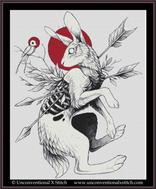 Hare & Bird cross stitch pattern
