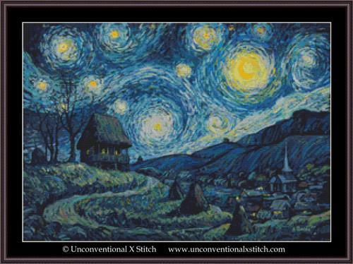 A Romanian Starry Night cross stitch pattern