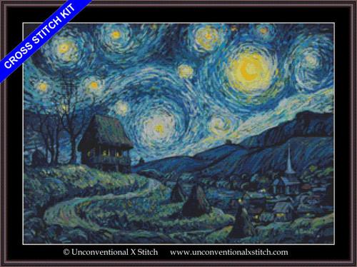 A Romanian Starry Night cross stitch kit