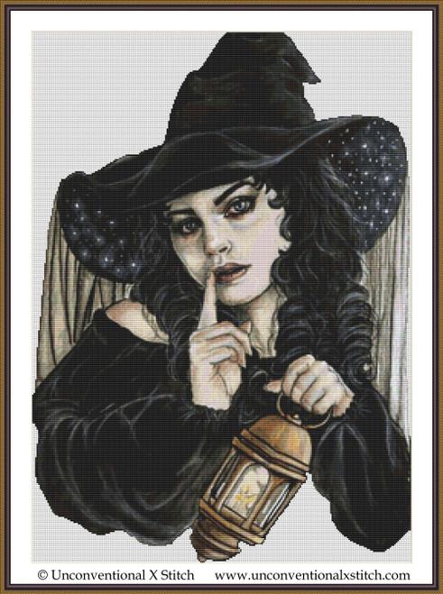 Night Witch cross stitch pattern