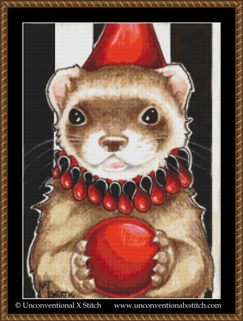 The Jester Ferret cross stitch pattern
