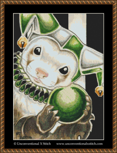 The Fool Ferret cross stitch pattern