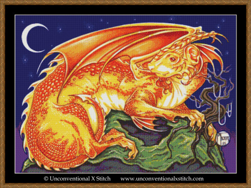 Dragon Ferret cross stitch pattern