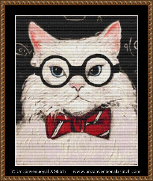 Chemistry Cat Contemplates the Science of Catnip cross stitch pattern