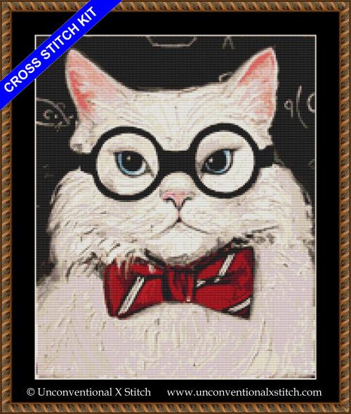 Chemistry Cat Contemplates the Science of Catnip cross stitch kit