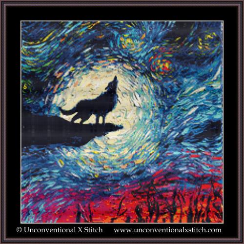Howling Wolf Night cross stitch pattern