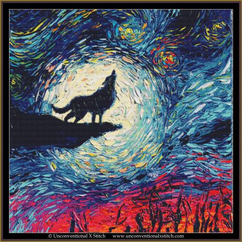 Howling Wolf Night cross stitch pattern  (XL Edition)
