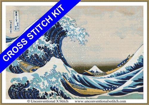 Great Wave off Kanagawa cross stitch kit