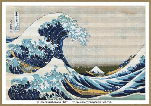 Great Wave off Kanagawa cross stitch pattern (Minimum Colours edition)