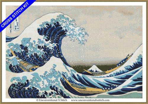 Great Wave off Kanagawa Minimum Colours cross stitch kit