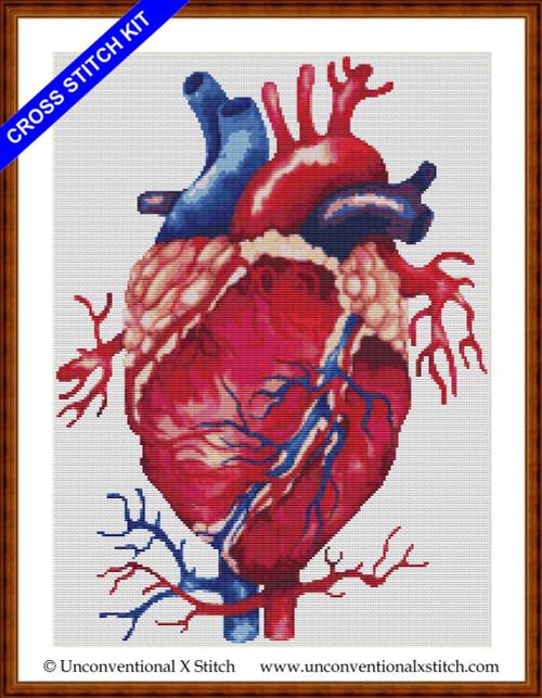 Anatomical Heart (minimum colours edition) cross stitch kit