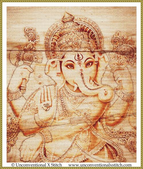Ganesha cross stitch pattern (Minimum Colour edition)