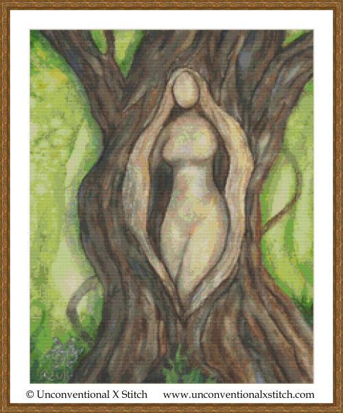 Tree Goddess cross stitch pattern