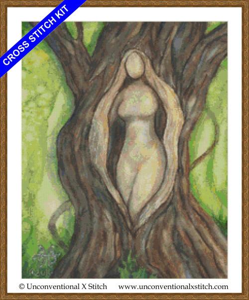 Tree Goddess cross stitch kit