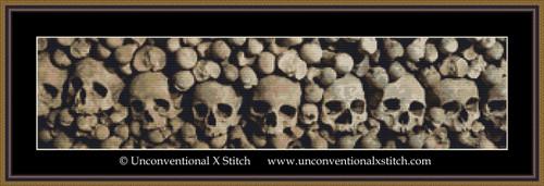 Wall of Skulls cross stitch pattern (Minimum Colour edition)