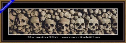 Wall of Skulls minimum colour edition cross stitch kit