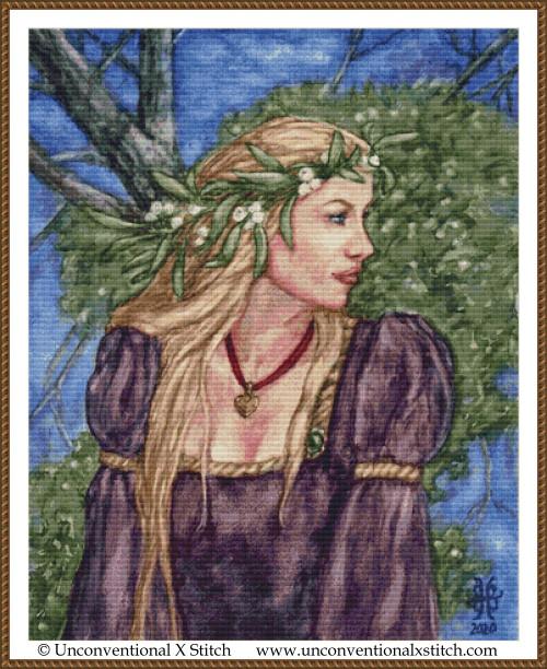 Mistletoe Queen cross stitch pattern